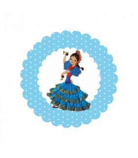 Flamenca lunares azul bebé 2