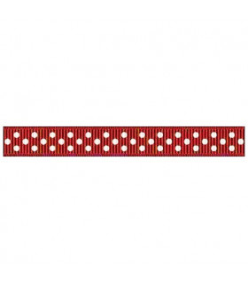 Grosgrain Lunares burdeos/blanco 9mm