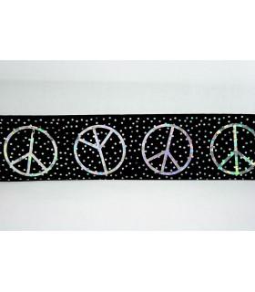 Cinta SATINADA NEGRA PEACE CON STRASS PLATEADO 40mm