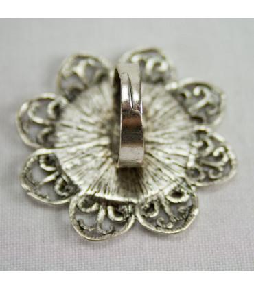 Base anillo flor PLATA - 45mm