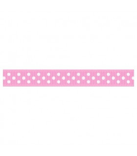 Grosgrain Lunares rosa/blanco 9mm