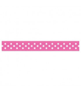 Grosgrain Lunares rosa intenso/blanco 9mm