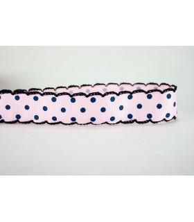 Lunares rosa/puntilla marino 25 mm