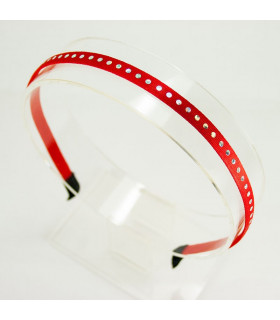 Diadema Forrada Roja con símil strass 8mm