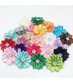 Flores satinadas con strass 40mm - Varios colores