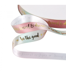"Cinta SATINADA IRISADA PASTEL/ORO ""BE HAPPY"" 16mm"