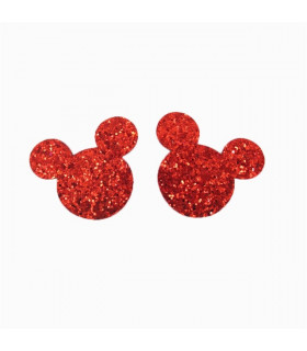 PACK DE 2 APLIQUES MINNIE GLITTER 35*32MM - VARIOS COLORES