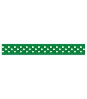 Grosgrain Lunares verde esmeralda/blanco 9mm