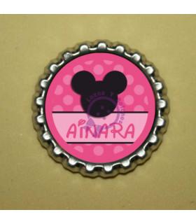 Mickey Silueta Fucsia Lunares con Nombre