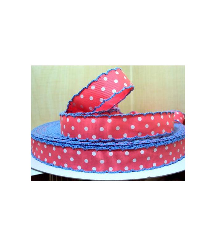 Lunares rosa/puntilla azul 22 mm