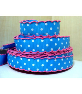 Lunares azul/puntilla rosa 22 mm