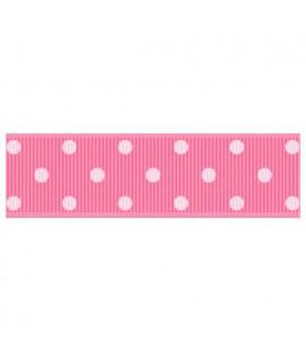 Lunares grandes rosa bebé/blanco 22mm
